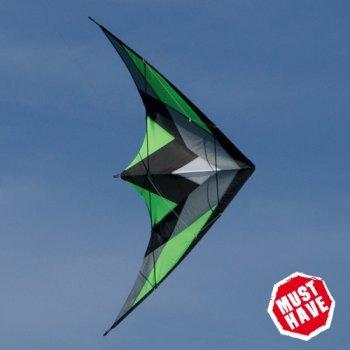 CIM Lenkdrachen - KATANA MUSTHAVE Green - Kite für leichten bis kräftigen Wind - Abmessung: 170x90cm - inkl. Steuerleinen auf