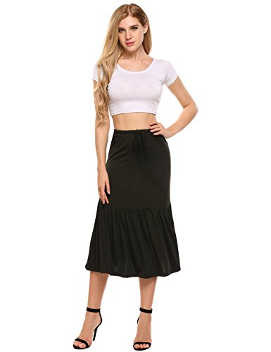 ANGVNS Womens Lightweight Knit Elastic Waist Midi Long Skirts for women knee length Black Small Long Black Knit Skirt