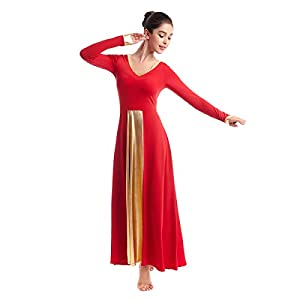 IBAKOM Praise Liturgical Dance Costume for Women Loose Fit Full Length Metallic Gold V-Neck Worship Long Dress Dancewear