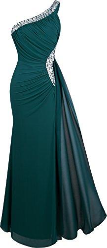 Oscuro Escotado Angel Ruching Verde detras Cuentas Hombro Largo Mujeres Cinta fashions Vestido por Un De las zwqZrz1