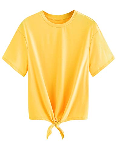 Romwe Women's Short Sleeve Tie Front Knot Casual Loose Fit Tee T-Shirt Yellow XXL
