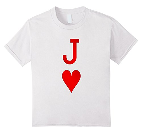 Kids Playing Cards Costume, Halloween Jack of Hearts Tee Shirt 12 White (Jack White Halloween Costume)