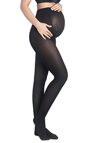ac1744e0c1d5e Maternity Tights - Women's Opaque Support Pantyhose for Pregnancy - Soft  Cotton Feel 80 Den Premium