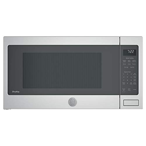 GE Profile 2.2 Cubic Foot Countertop Microwave, Gray (Certified Refurbished)
