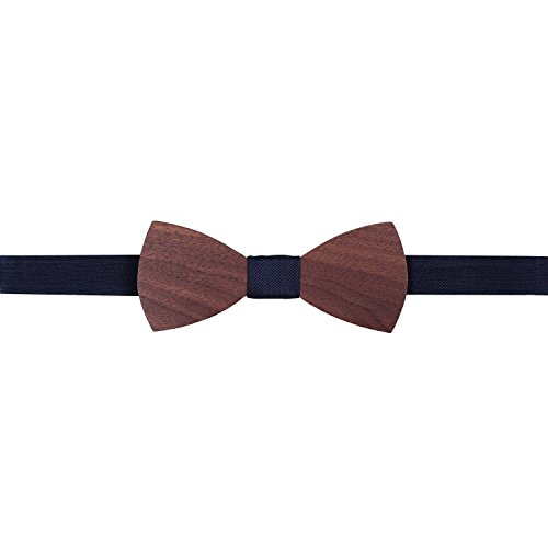 Silk Panama Navy Wood New Walnut JA Tie and blue Bow 8wq1FEx