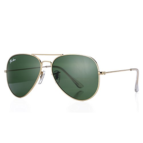 Pro Acme Aviator Crystal Lens Large Metal Sunglasses (Crystal G15 Green ()