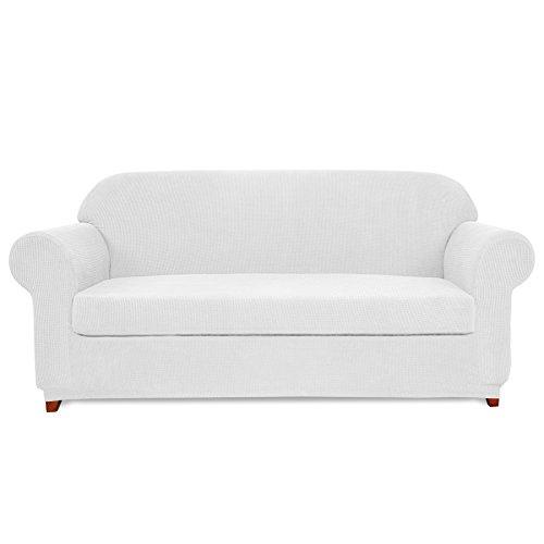 Subrtex 2-Piece Spandex Stretch Sofa Slipcover (Loveseat,Off-White)