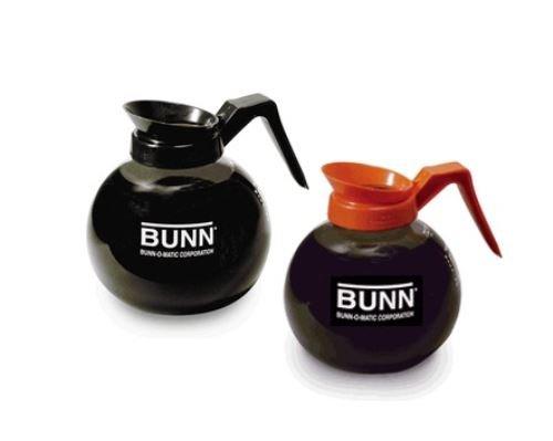 BUNN Coffee Pot Decanter / Carafe - Set of 2 - 1 Black Regular + 1 Orange Decaf - 12 Cup Capacity (Bunn Glass Coffee Carafe compare prices)