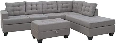 home, kitchen, furniture, living room furniture,  living room sets 9 image Merax Sectional Sofa with Chaise and Ottoman 3 deals