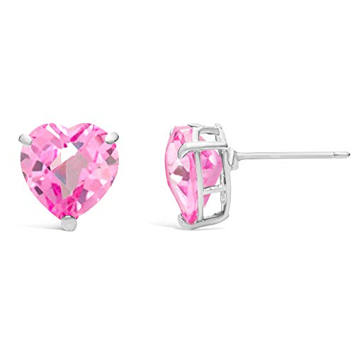 - 3.60 cttw Heart 8MM Simulated Pink Sapphire 14k White Stud Earrings