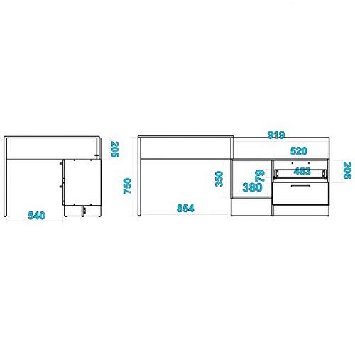 WHYNOTHOME Mesa Escritorio multiposición con módulo de 2 cajones y ...