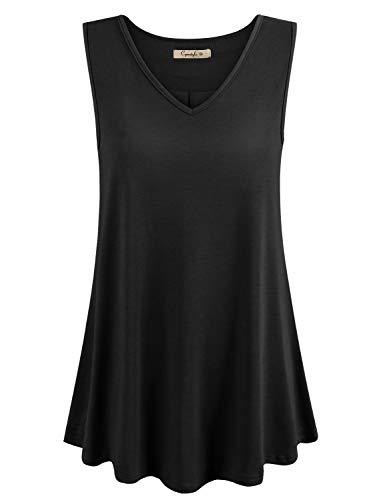 (Cyanstyle Womens Sleeveless V Neck Floral Flowy Tank Top Print Flowy Tunic Shirts Pure Black L )