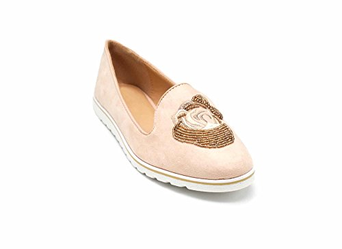 Broderie Et Nude Daim Effet Shop Slippers Perles Avec Mocassins Rose Fleur My Shp122 Rocaille Oh xgv787