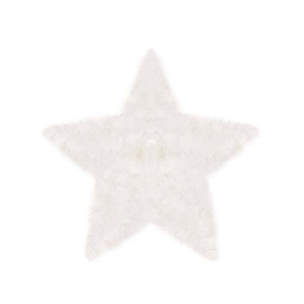Machine Washable Faux Sheepskin White Star Rug 3′ x 3′ – Soft and Silky – Perfect for Baby's Room, Nursery, playroom (Star Large White)