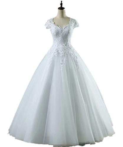 BRLMALL White Ball Gown Bridal Lace Princess Wedding Dress with Sleeves 16