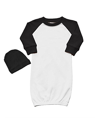 (Raglan Baseball Baby Gown and Cap Set 0-3M White/Black)