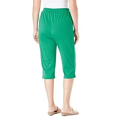 Roamans Women's Plus Size Soft Knit Capri Pant at Women's Clothing store