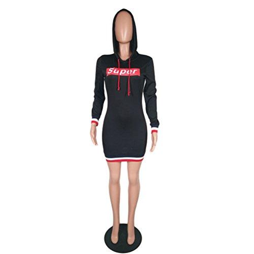 Sport Clubwear capuche Hip Femmes Paquet mince Sweat manches Noir Imprim longues Robe Mode wFxtqpxYv