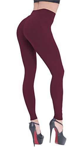 BEELU FASHION BOUTIQUE Plus Size Leggings for Women High Waisted Soft Workout Running Yoga Tummy Control Slim Pants(Plus Size, Burgundy)