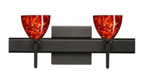 Besa Lighting 2SW-185841-BR-SQ 2X40W G9 Divi Wall Sconce with Canopy Garnet Glass, Bronze Finish