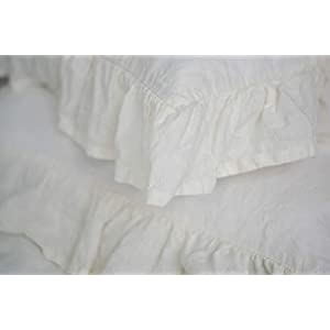Image of Home and Kitchen Duvet Cover with Ruffles King Size - with Two King Pillow Cases 4 sides Ruffles - in Sage Color