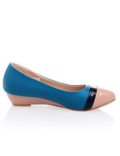 GGX/ Damen-High Heels-Lässig-Lackleder-Keilabsatz-Wedges / Geschlossene Zehe-Blau blue-us6.5-7 / eu37 / uk4.5-5 / cn37