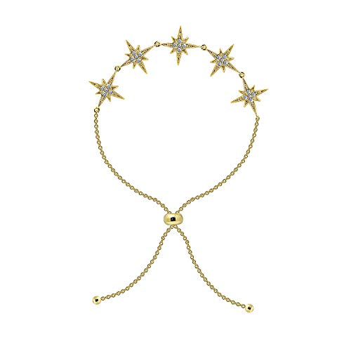 6TH AVE Galaxy Collection - 14K Yellow Gold Plated 5 Stars 2.5 cttw Round Cut Swarovski Zirconia Adjustable Starburst - Swarovski Round Bracelets