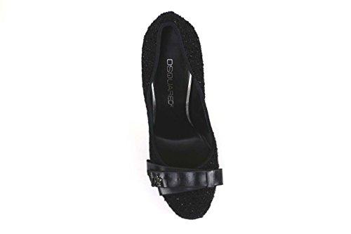 Chaussures Femme DSQUARouge Escarpins Noir Textile AM636