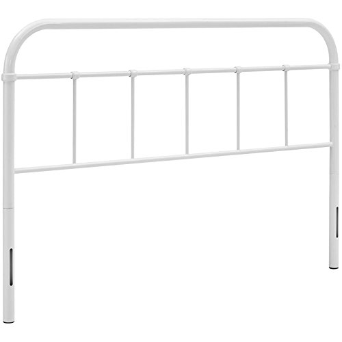 Modway Serena Rustic Farmhouse Style Steel Metal Headboard in White, Queen Size - Queen Headboard Dimensions