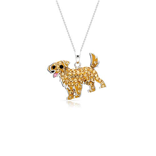 - BLING BIJOUX Golden Retriever Dog Pendant Necklace Never Rust 925 Sterling Silver Natural and Hypoallergenic Chain for Women and Girls with Free Breathtaking Gift Box for Special Moments of Love