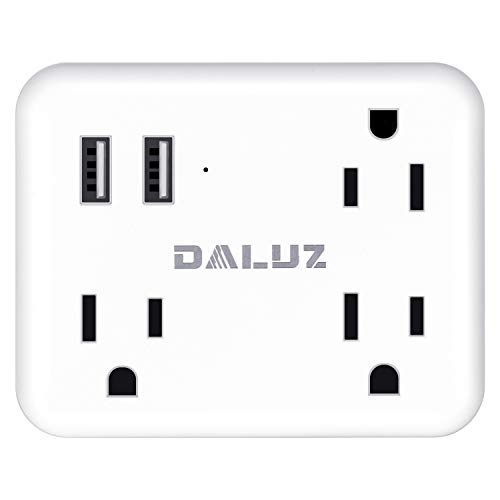 Cruise Power Strip USB Wall Plug with 3 Wide Spaced Outlets & 2 USB Charging Ports, Non Surge Protector & Cruise Ship Approved Ideal for Travel, Family, Office and More by DALUZ