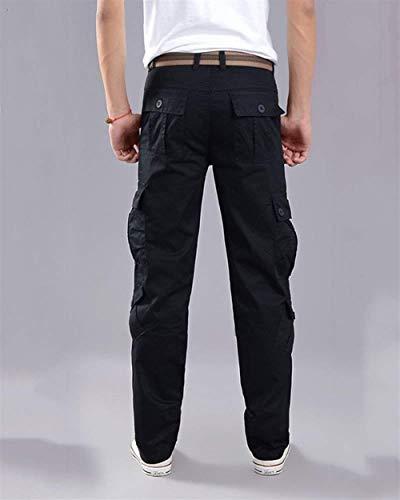 Casual Tempo Lavoro Mode Pantaloni Libero Bolawoo Da Stretch Uomo Marca Con Loose Multiplo Cargo Lavoro Sport Taschino Nero Di Cvwqgwa