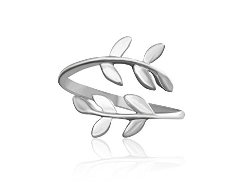 ONDAISY 14K Matte Rhodium Plated Bff Best Friends Bohemian Boho Jewelry Tree Flower Leaves Laurel Leaf Knuckle Toe Adjustable Band (14k Silver Toe Ring)