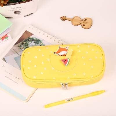 ASCZFAS bolsa de lápiz Kawaii Estuche de Lápices de Gran Capacidad de Cuero de LA PU Útiles Escolares Dulce Verano Color Caramelo Caja de Regalo Papelería Titular de la pluma zorro amarillo: