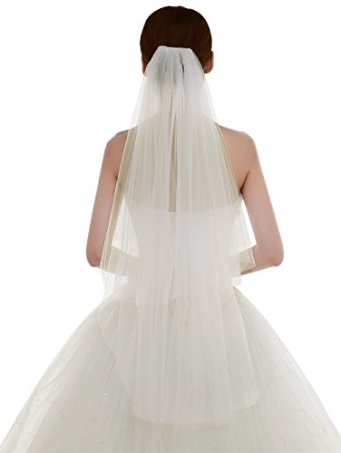 Color Veil (Edith qi Women's Simple Tulle Bridal Veil Short Wedding Veil)