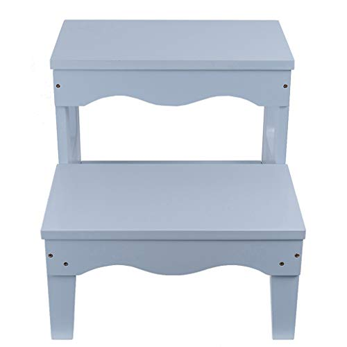- Softgo Step Stools Solid Wood Double Step Stool Shoe Bench Multi-Function Household Children Step Stool Baby Wash Basin Footstool White, 40x44x41 cm