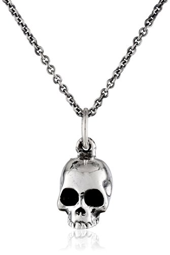 King Baby Micro Skull on Micro Rolo Chain Pendant Necklace, 18
