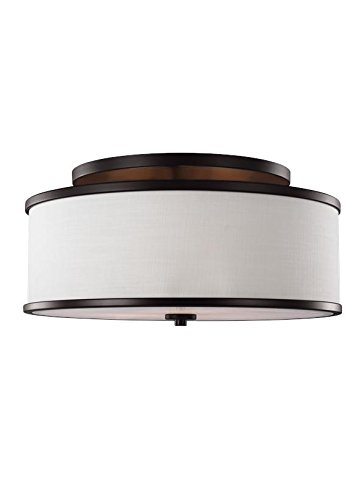Murray Feiss Bronze Ceiling Light - Murray Feiss SF339ORB Lighting Lennon Three Light Semi-Flush Mount, Oil Rubbed Bronze Finish with Ivory Linen Shade