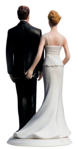 Weddingstar The Love Pinch Bridal Couple Figurine, Caucasian Couple (Casual Wedding Cake Topper)