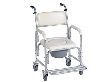 Aluminum Shower Chair/bedside Commode W/casters and Padded Seat, Commode Pail and Cover by Health Line Products