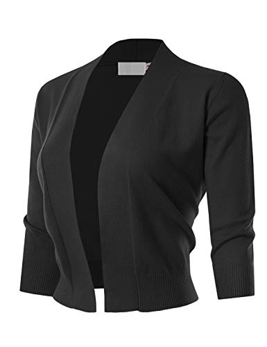 MAYSIX APPAREL 3/4 Sleeve Solid Open Bolero Cropped Cardigan for Women Black -