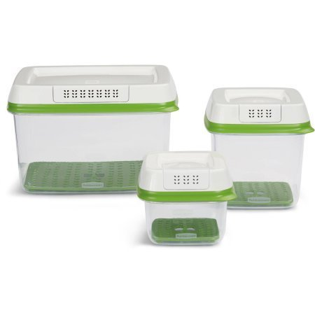 Rubbermaid FreshWorks Produce Saver 3-Piece Set With Lids, Green (1)