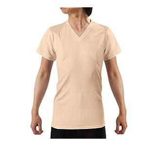 [キュライン] インナーシャツ 脇汗パッド付きシャツ 半袖 Vネック tシャツ 脇汗 インナー 肌着 わきあせ メンズ 汗染み防止 抗菌防臭 わき汗対策