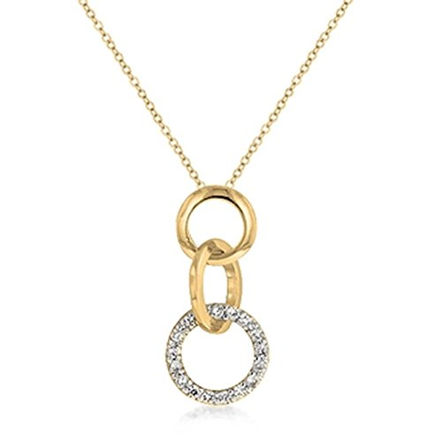 [Cubic Zirconia Studded Gold Toned Triplet Hoop Pendant Necklace] (Good Triplet Costumes)