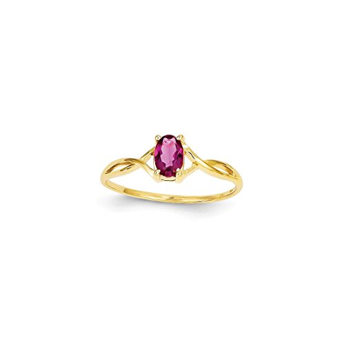 ICE CARATS 14k Yellow Gold Pink Tourmaline Birthstone Band Ring Size 7.00 Stone October Oval Style Fine Jewelry Ideal Mothers Day Gifts For Mom Women Gift Set From Heart (Ring Style Pink Ice)