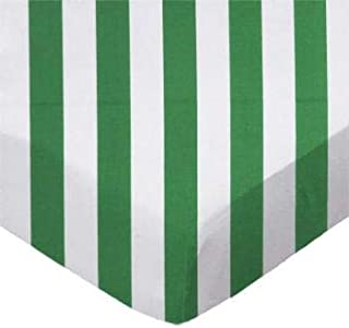 product image for SheetWorld 100% Cotton Percale Flat Crib Toddler Sheet 28 x 52, Forest Green Stripe, Made in USA