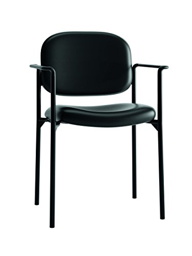 basyx by HON Guest Chair with Arms- Leather Stacking Office Furniture , Black (VL616)