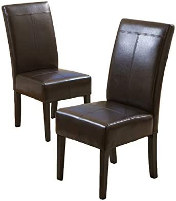 Christopher Knight Home Chocolate Brown T-Stitch Leather Dining Chair