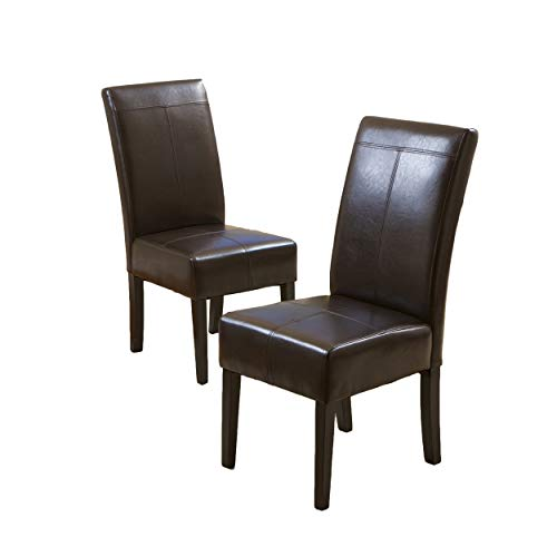 Best Selling Chocolate Brown T-Stitch Leather Dining Chair, 2-Pack ()