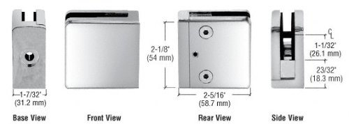 C.R. LAURENCE Z812CH CRL Chrome Z-Series Square Type Flat Base Zinc Clamp for 1/2'' Glass